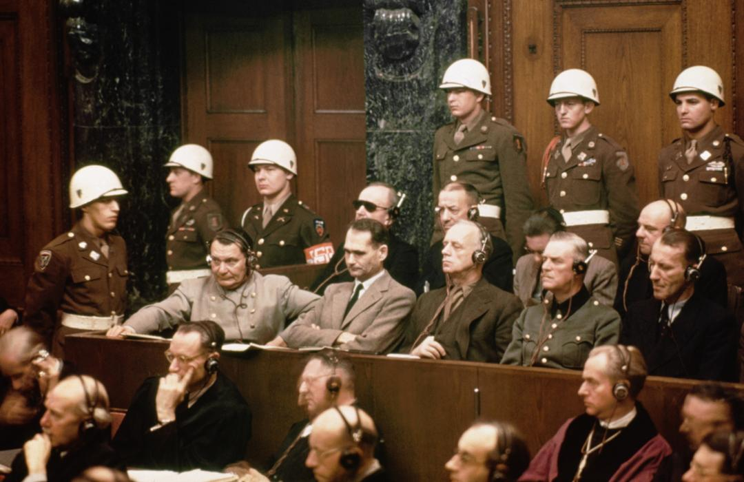 01 Jan 1946, Nuremberg, Germany --- The defendants at the Nuremberg Nazi trials. Pictured in the front row are: Hermann Goering, Rudolf Hess, Joachim Von Ribbentrop, Wilhelm Keitel and Ernst Kaltenbrunner. In the back row are: Karl Doenitz, Erich Raeder, Baldur von Schirach, and Fritz Sauckel. --- Image by © Bettmann/CORBIS