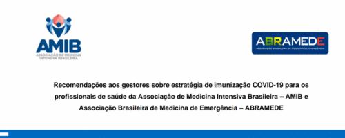 Recomendações AMIB e ABRAMEDE sobre estratégia de imunização COVID-19 para os profissionais de saúde
