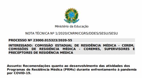 Como o MEC recomenda que seja a atividade dos médicos residentes durante a pandemia?