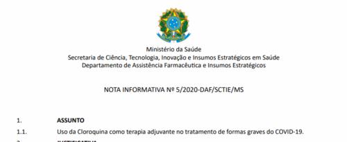 Uso da Cloroquina e hidroxicloroquina segundo o MCTIC (27/03/2020)