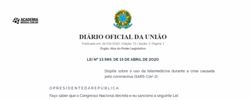 Presidente sanciona lei sobre o uso da telemedicina durante a crise de Covid-19